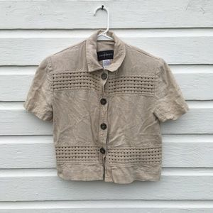 Vintage Tops - Vintage cropped linen blouse